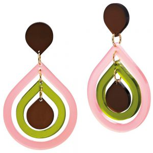 Toolally Statement Earrings - Pear Drops Blush Pink