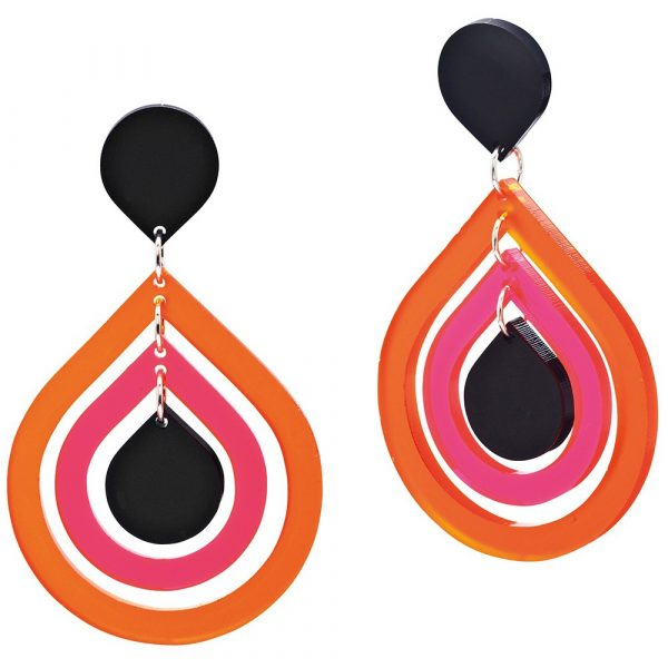 Toolally Statement Earrings - Pear Drops Tropical Orange