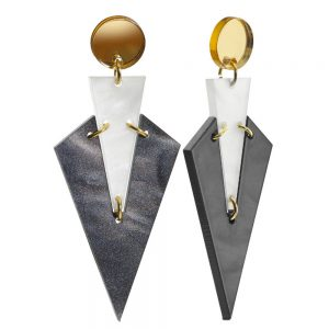 Toolally Statement Earrings - Art Deco Drops Marble White
