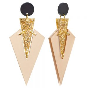 Toolally Statement Earrings - Art Deco Drops Nude & Glitter