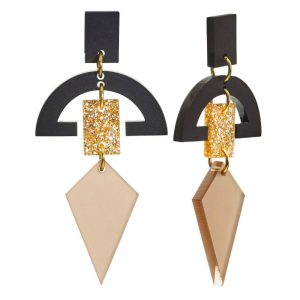 Toolally Statement Earrings - Half Moon Drops Nude & Glitter