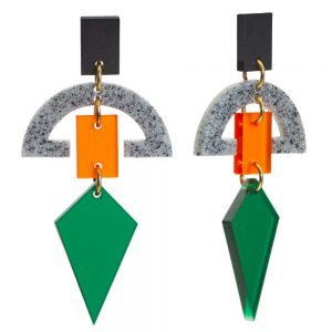 Toolally Statement Earrings - Half Moon Drops Green