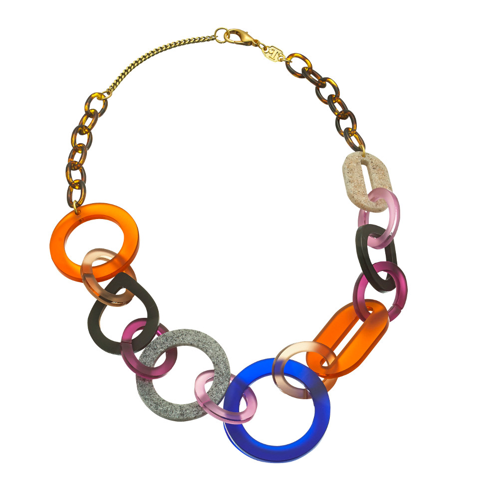 Toolally Statement Necklaces - Links necklace short Tortoiseshell