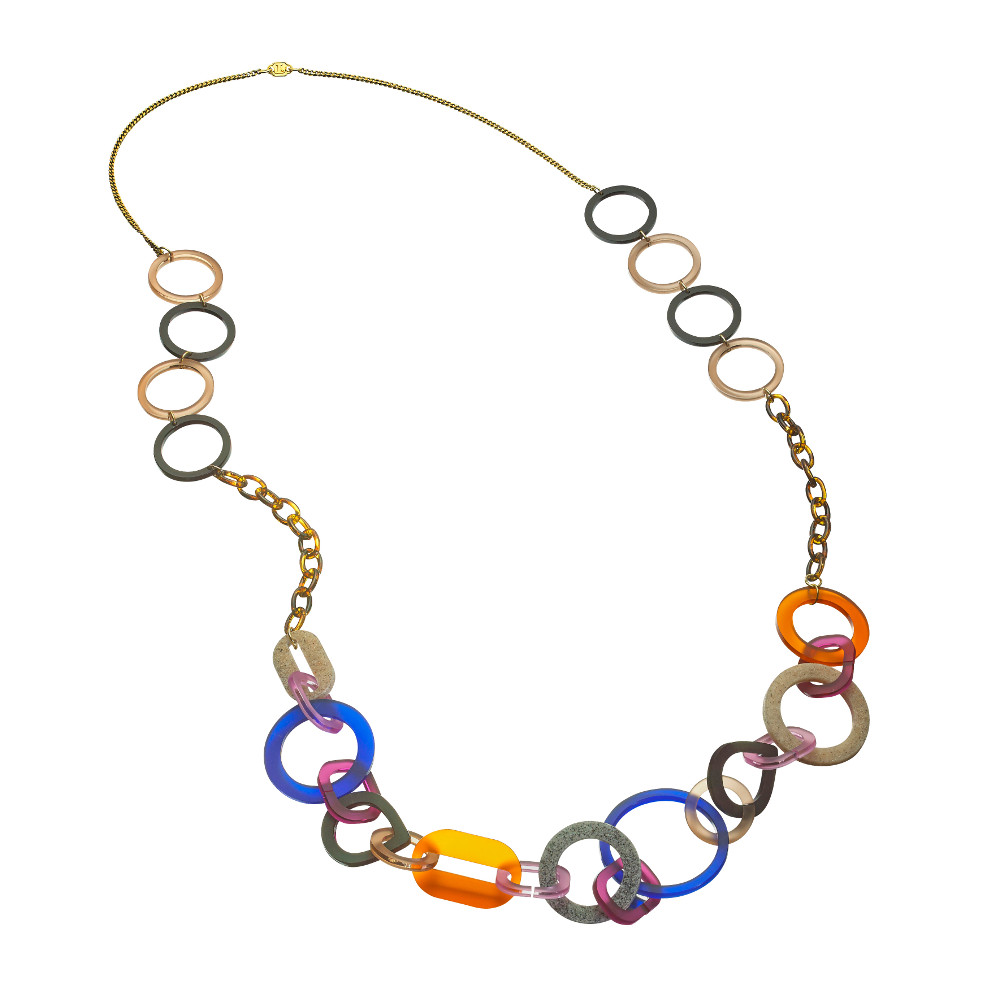 Toolally Statement Necklaces - Links necklace long Tortoiseshell
