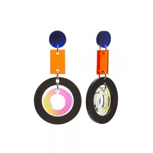 Toolally Statement Earrings - Circles Iridescent