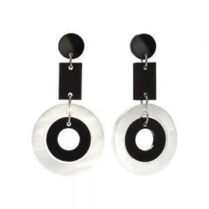 Toolally Statement Earrings - Circles Black & White