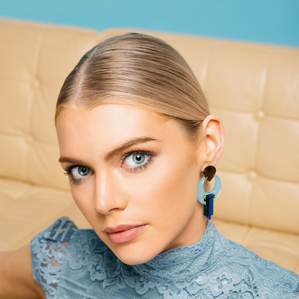 Toolally statement earrings - Peacocks Arctic blue