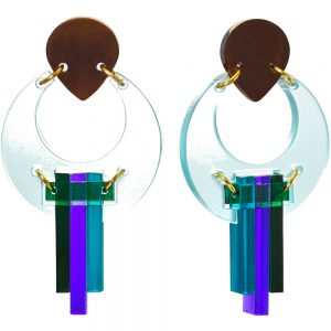 Toolally Statement Earrings - Peacock Blue