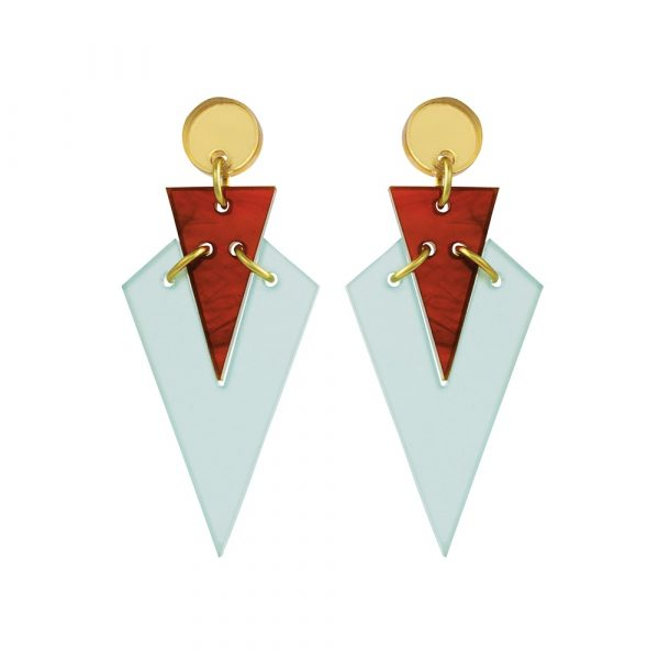 Toolally Statement Earrings - Art Deco Droplets Green & Tortoiseshell