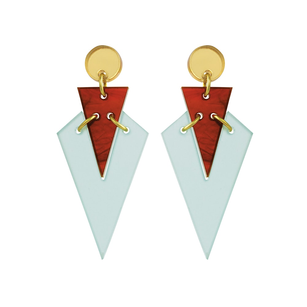 Toolally Statement Earrings - Art Deco Droplets Green & Tortoiseshell