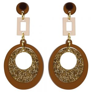 Toolally Statement Earrings - Hepworths Brown & Glitter
