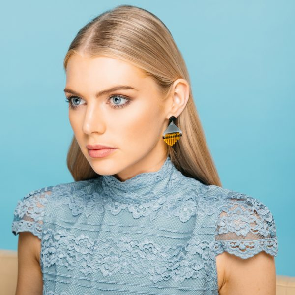 Toolally Statement Earrings - Arctic & Saffron