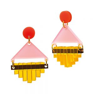 Toolally Statement Earrings - Diamond Squares Blush Pink
