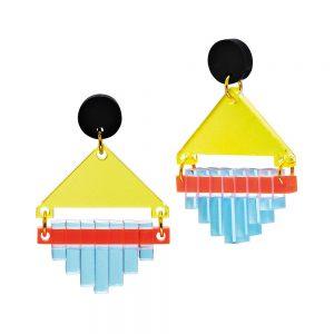 Toolally Statement Earrings - Diamond Squares Blue & Lemon