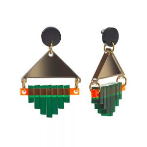 Toolally Statement Earrings - Diamond Squares Green & Bronze