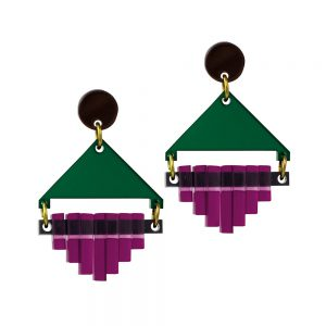 Toolally Statement Earrings - Diamond Squares Emerald & Plum