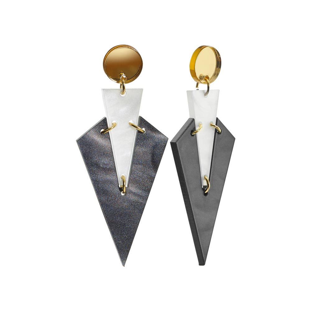 Toolally Statement Earrings - Art Deco Droplets Marble White