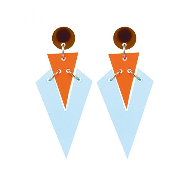 Toolally Statement Earrings - Art Deco Droplets Blue & Mandarin