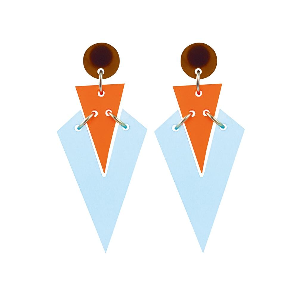 Toolally Statement Earrings - Art Deco Droplets Blue & Mandarin