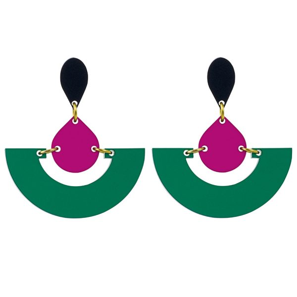 Toolally Statement Earrings - Fans Emerald & Plum