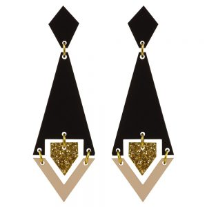 Toolally Statement Earrings - Shards Black & Glitter