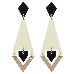 Toolally Statement Earrings - Shards Lemon Sorbet & Black