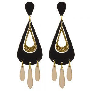 Toolally Statement Earrings - Tassels Black & Glitter