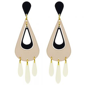 Toolally Statement Earrings - Tassels Nude