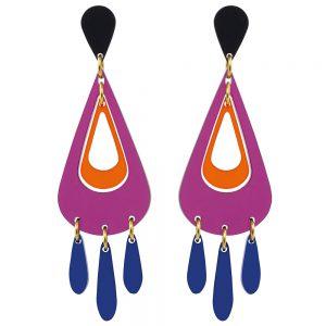 Toolally Statement Earrings - Tassels Plum