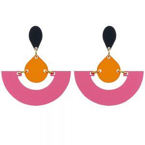 Toolally Statement Earrings - Fans Raspberry & Mandarin
