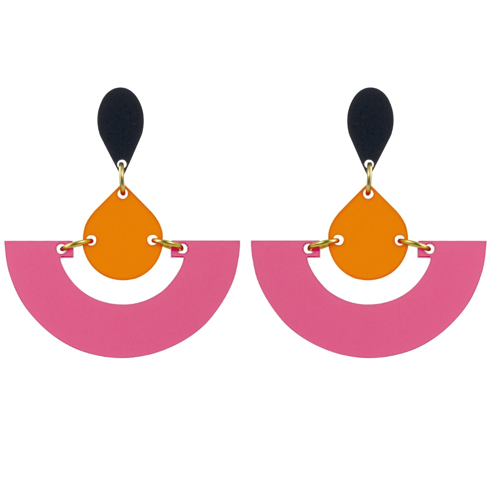 Toolally Statement Earrings - Fans Raspberry & Mandarin