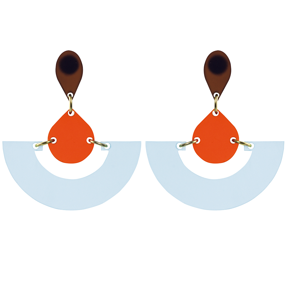 Toolally Statement Earrings - Fans Arctic & Mandarin