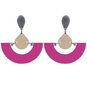Toolally Statement Earrings - Fans Plum & Nude