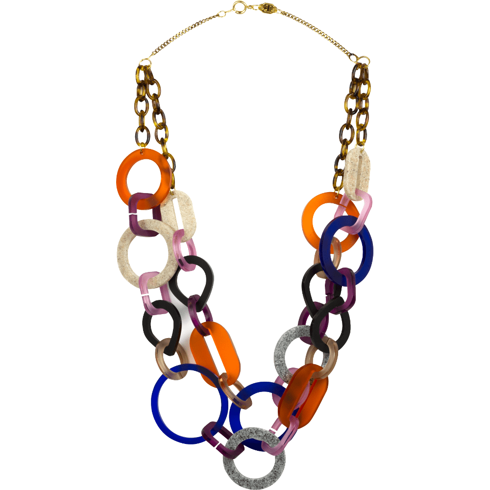 Toolally Statement Necklaces - Links double Tortoiseshell