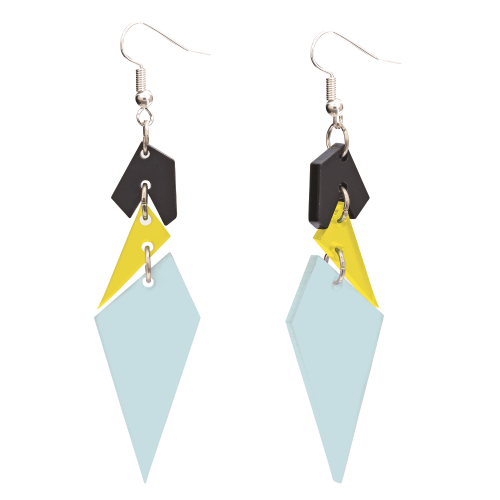 Toolally Statement Earrings Abstract Diamonds - Arctic blue