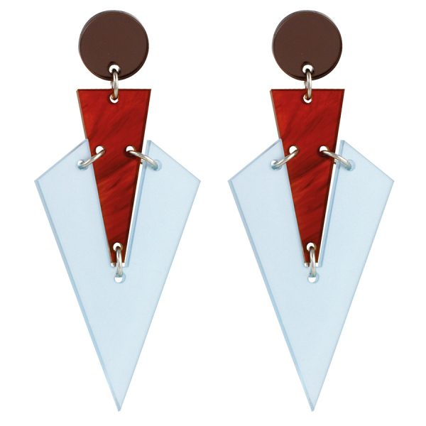 Toolally Statement Earrings - Art Deco Drops Blue & Tortoiseshell