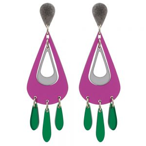 Toolally Statement Earrings - Tassels Plum & Grey