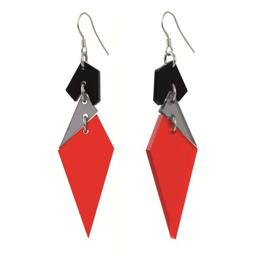 Statement Earrings Abstract Diamonds - Chilli Red and Grey