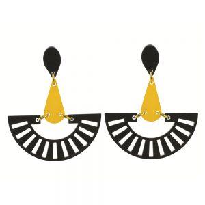 Toolally Statement Earrings - Fandangos Black & Saffron