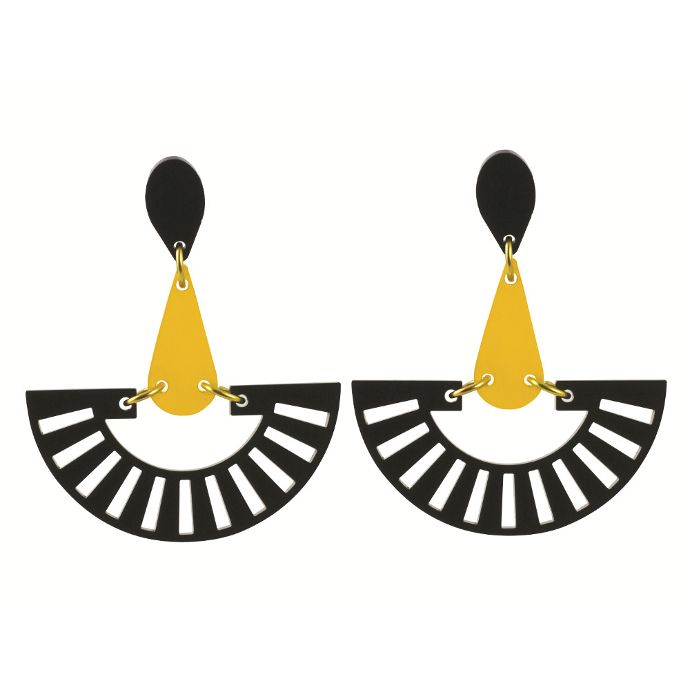 Toolally Statement Earrings - Fandangos Black & Saffron