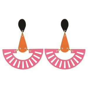 Toolally Statement Earrings - Fandangos Raspberry & Mandarin