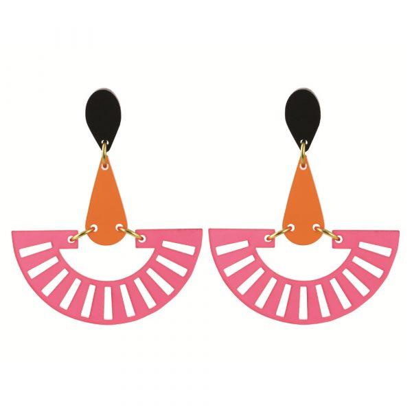 Toolally Statement Earrings - Fandangos Raspberry & Mandarin