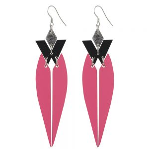 Statement Earrings - HRH - Raspberry and Grey Stone