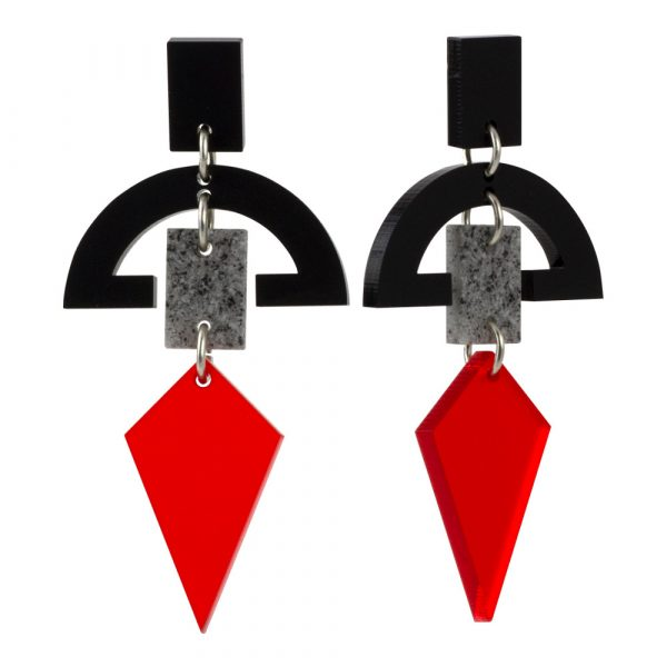 Statement Earrings - Half Moon Drops - Black, Stone and Chilli Red