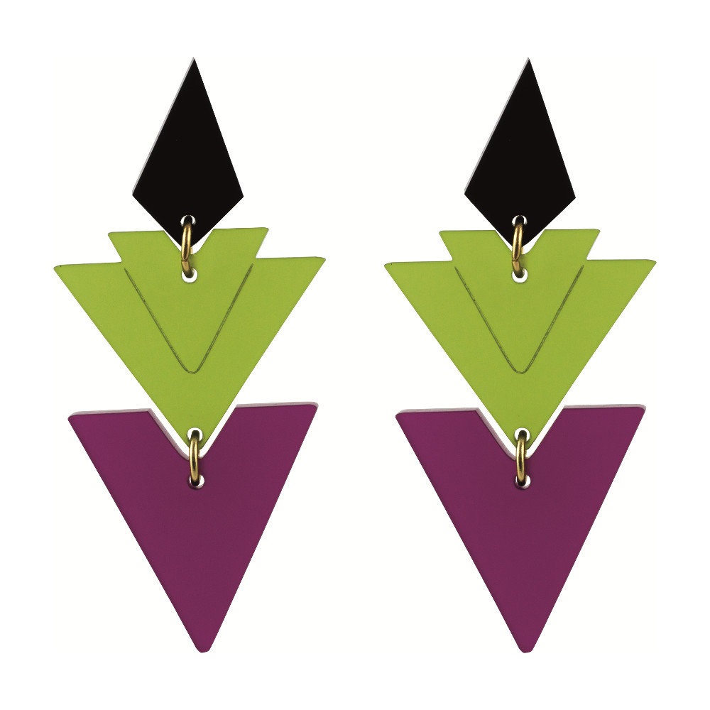 Statement Earrings - Tiered Drops plum and lime