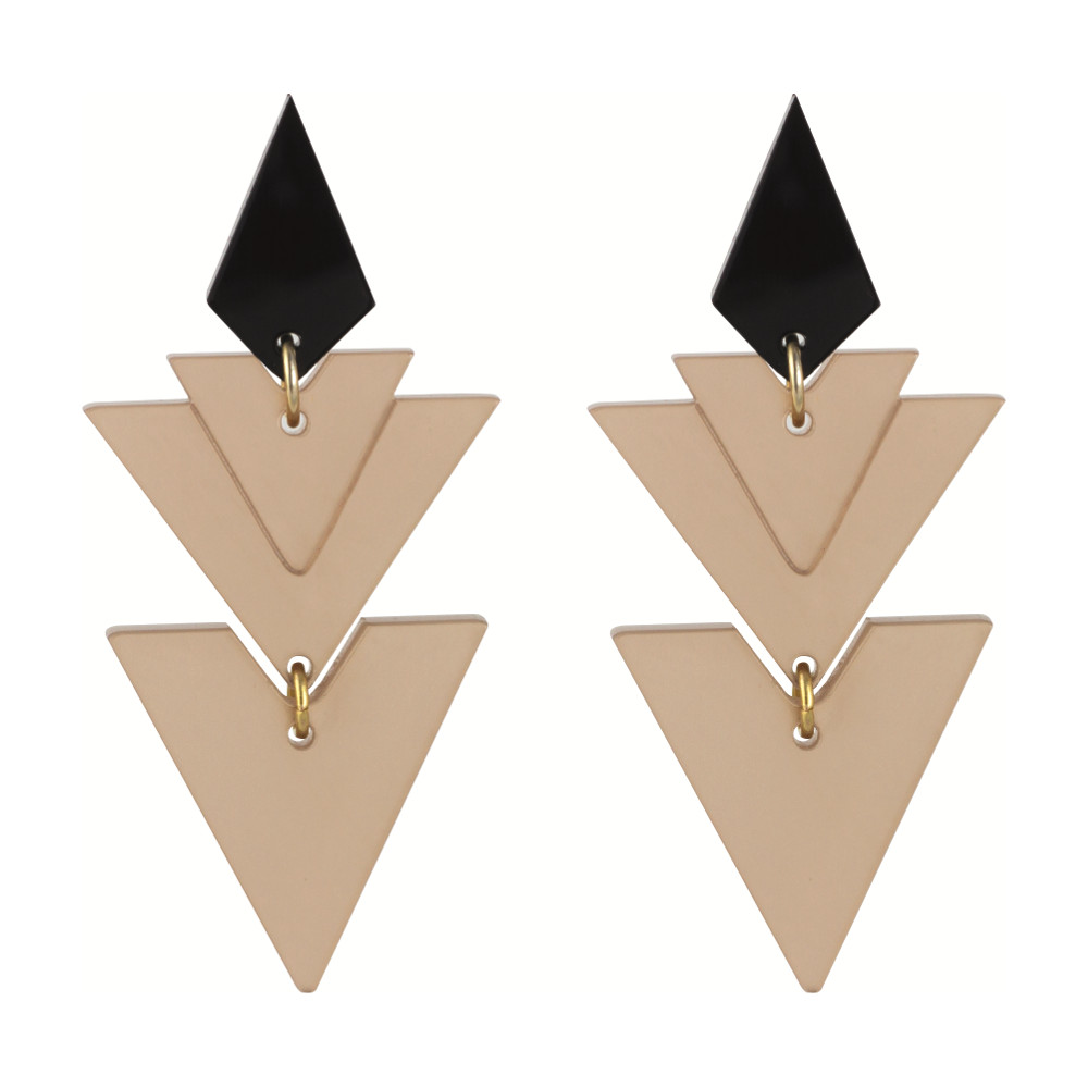 Statement Earrings - Tiered Drops Nude
