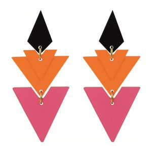 Statement earrings - Tiered Drops Raspberry and Mandarin