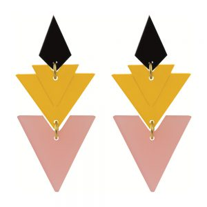 Statement Earrings - Tiered Drops Saffron and Pink Frost
