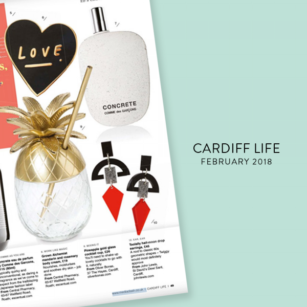 CARDIFF LIFE - FEB 2018 | Half Moon Drops, Black, Stone & Chilli Red - Toolally