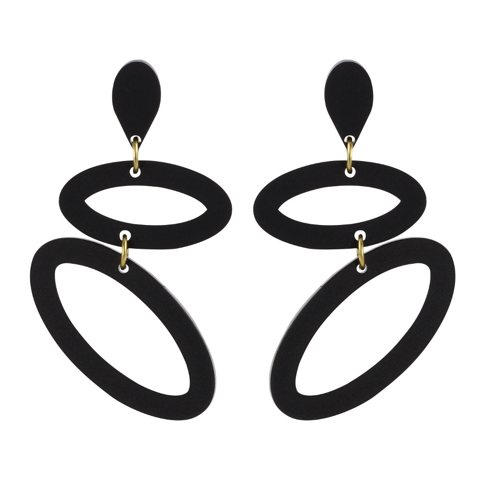 Toolally Statement Earrings - Ellipses Black